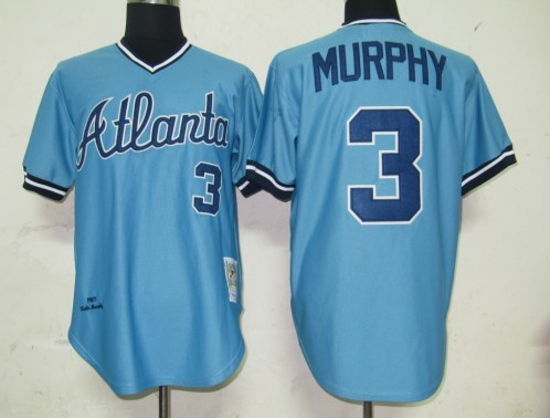 promo code cc570 750be MLB Jerseys Atlanta Braves 3 Murphy Light Blue softball ...