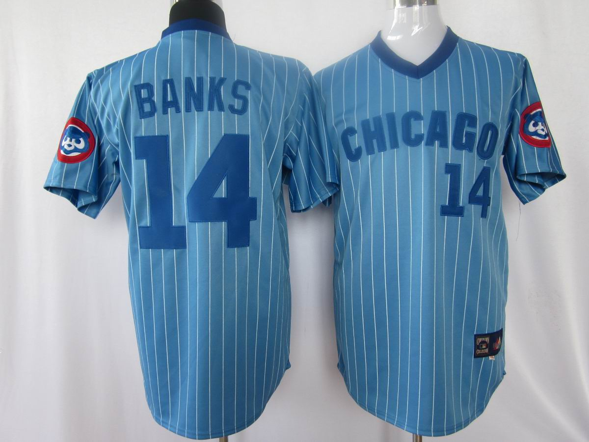 MLB Jerseys Chicago Cubs 14 Banks Light Blue softball jerseys