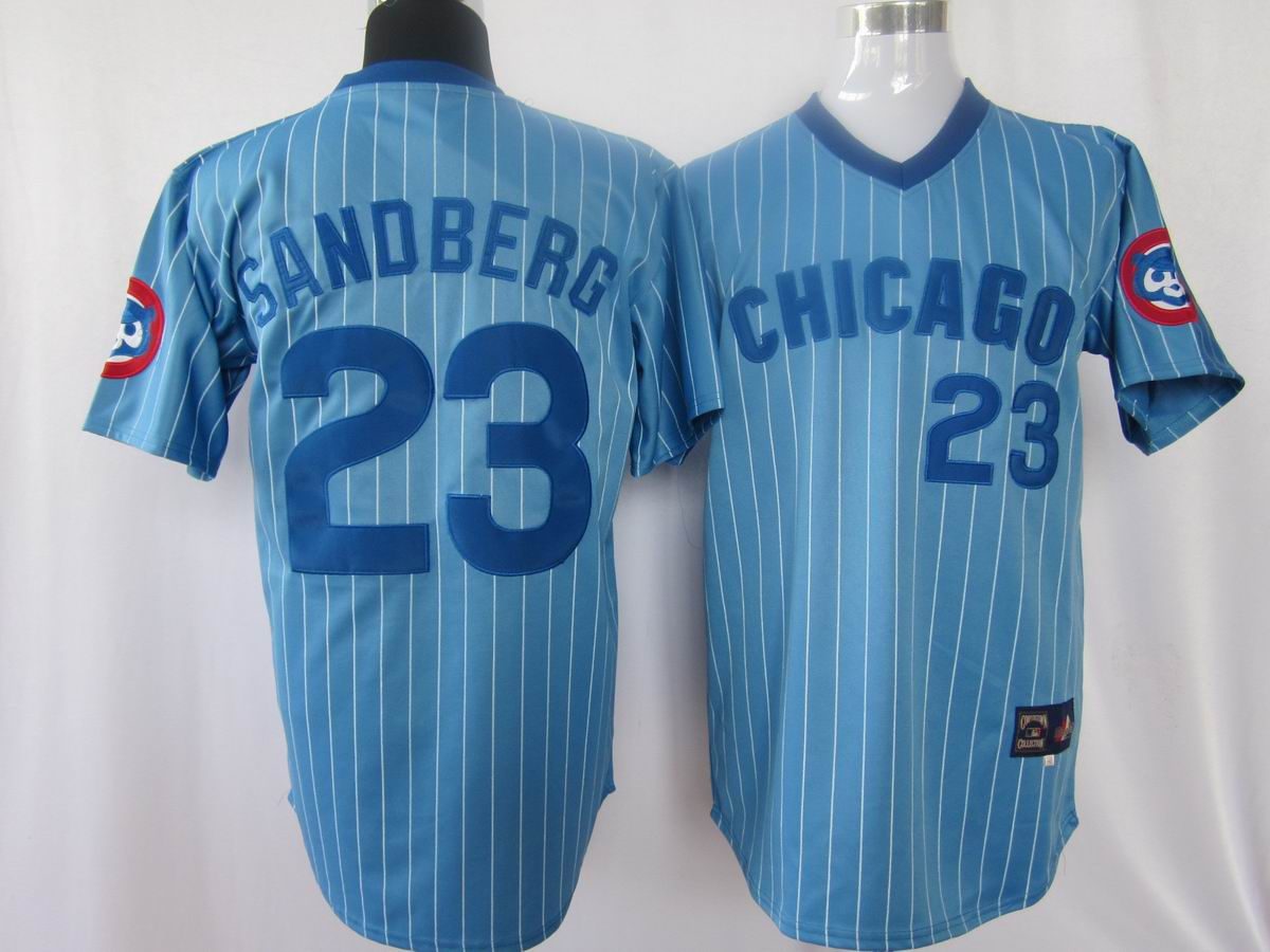 MLB Jerseys Chicago Cubs 23 Sandberg Light Blue softball jerseys