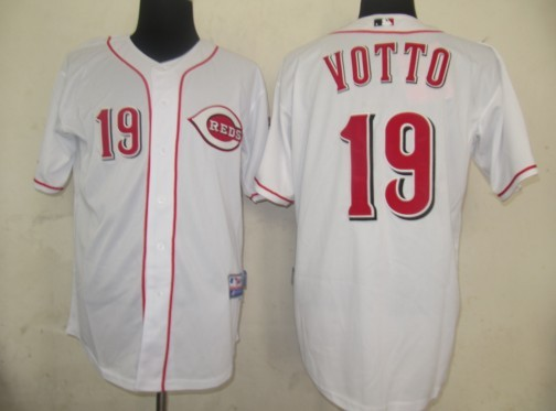 MLB Jerseys Cincinnati Reds 19 Votto White softball jerseys