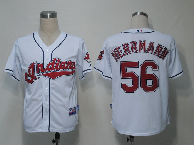 MLB Jerseys Cleveland Indians 56 Herrmann White softball jerseys