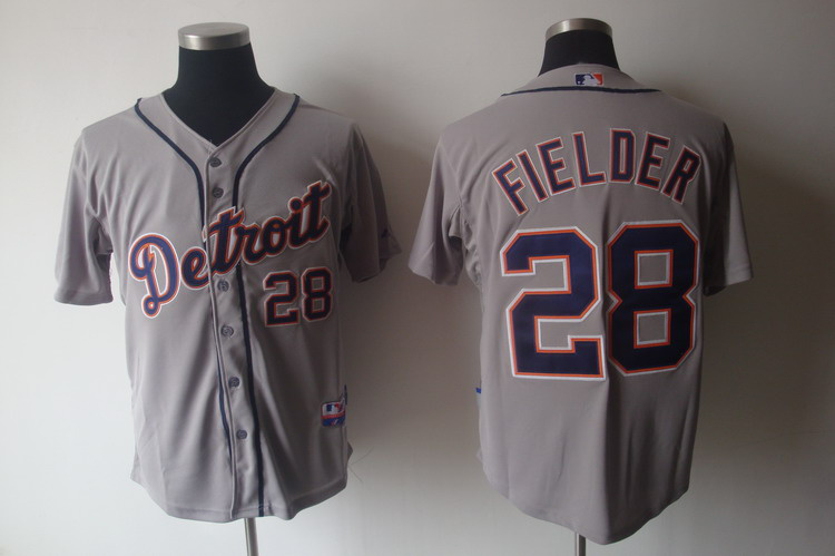MLB Jerseys Detroit Tigers 28 Fielder Grey softball jerseys