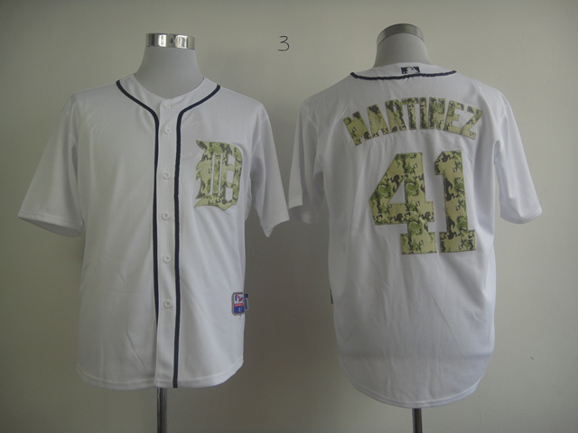 MLB Jerseys Detroit Tigers 41 Martinez Camo White softball jerseys