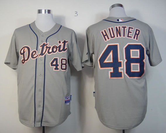 MLB Jerseys Detroit Tigers 48 Hunter Grey softball jerseys