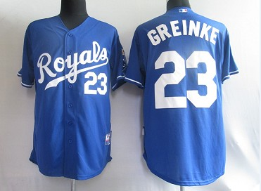 MLB Jerseys Kansas City Royals 23 Greinke Navy softball jerseys