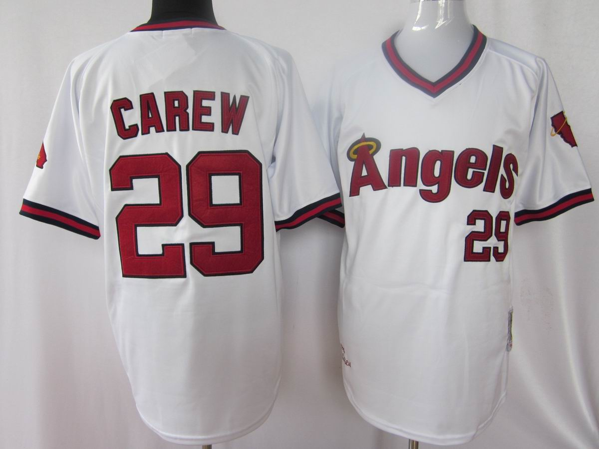 MLB Jerseys Los Angeles Angels 29 Carew White softball jerseys