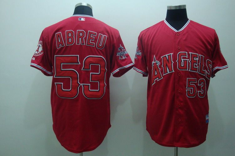 MLB Jerseys Los Angeles Angels 53 Abreu Red softball jerseys