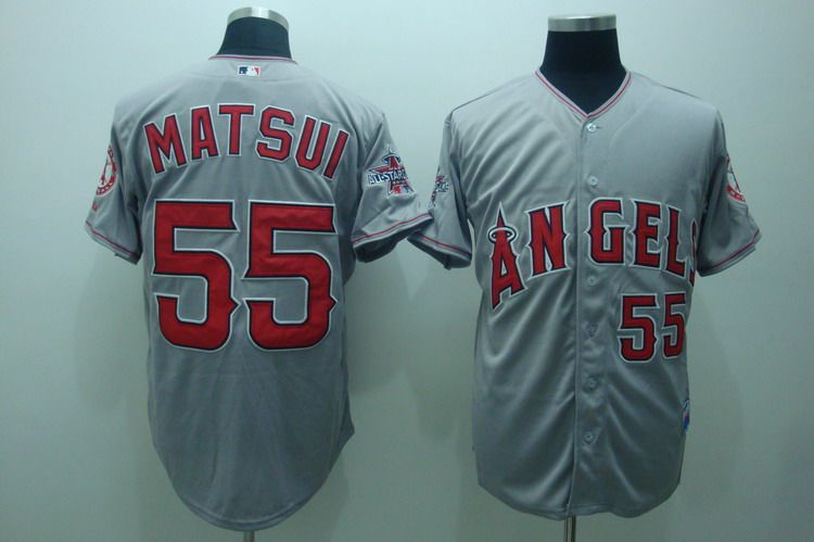 MLB Jerseys Los Angeles Angels 55 Matsui Grey softball jerseys