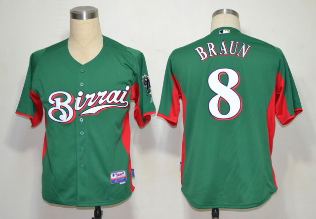 MLB Jerseys Milwaukee Brewers 8 Braun Green softball jerseys