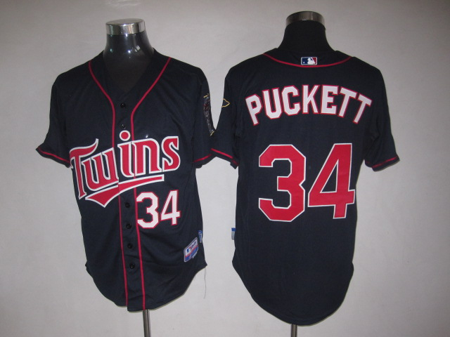 MLB Jerseys Minnesota Twins 34 Puckett Navy softball jerseys