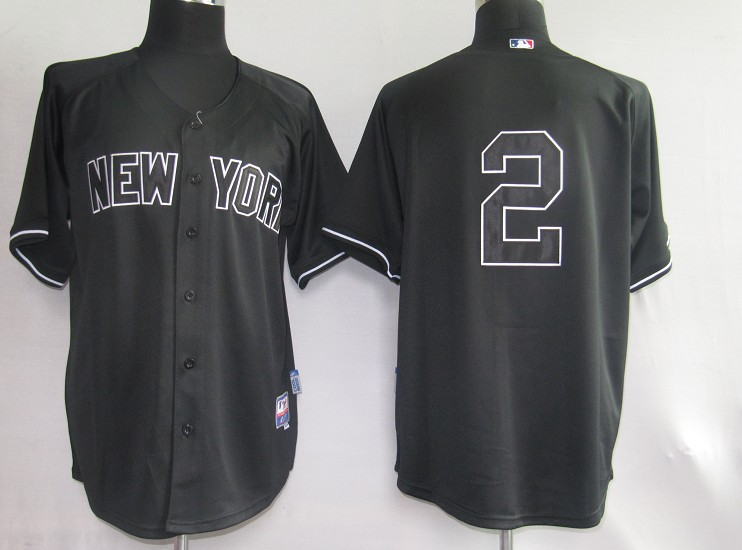 pretty nice 50f1f 11b9e MLB Jerseys New York Yankees 2 Derek Jeter Black softball ...