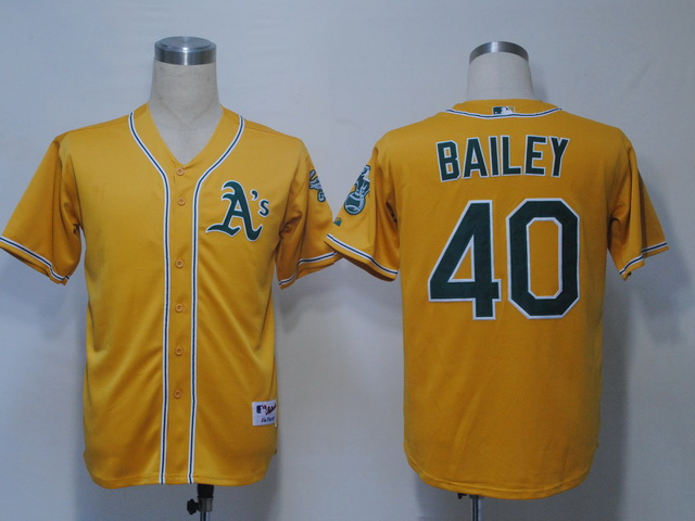 MLB Jerseys Oakland Athletics 40 Bailey Yellow softball jerseys