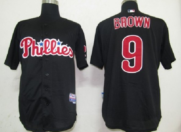 MLB Jerseys Philadelphia Phillies 9 Brown Black softball jerseys