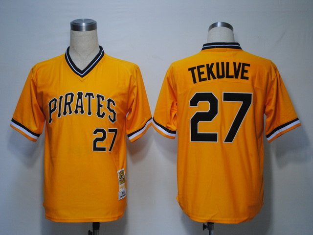 MLB Jerseys Pittsburgh Pirates 27 Tekulve Yellow softball jerseys