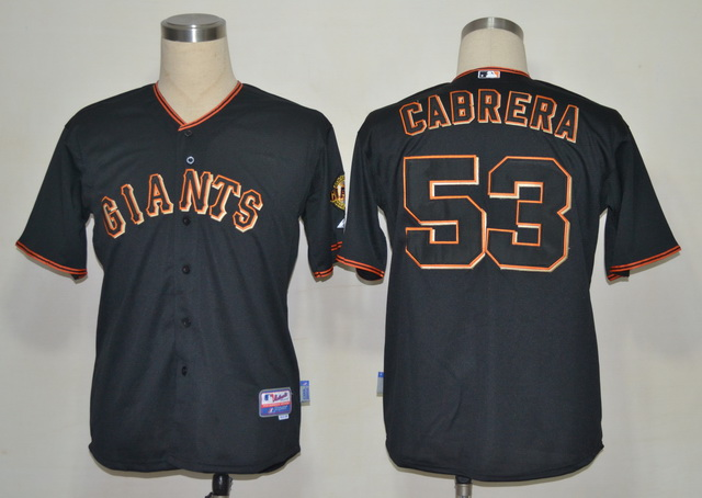 MLB Jerseys San Francisco Giants 53 Cabrera Black softball jerseys