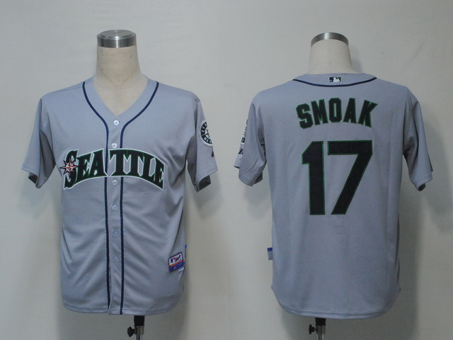 MLB Jerseys Seattle Mariners 17 Smoak Grey softball jerseys