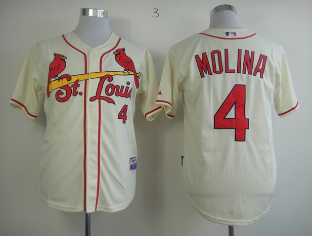 MLB Jerseys St.Louis Cardinals 4 Molina Cream softball jerseys