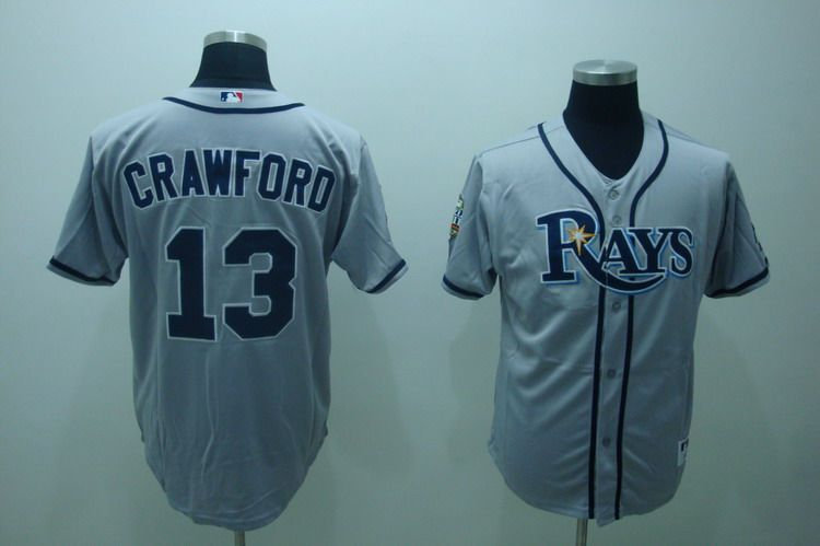 MLB Jerseys Tampa Bay Rays 13 Crawford Grey softball jerseys