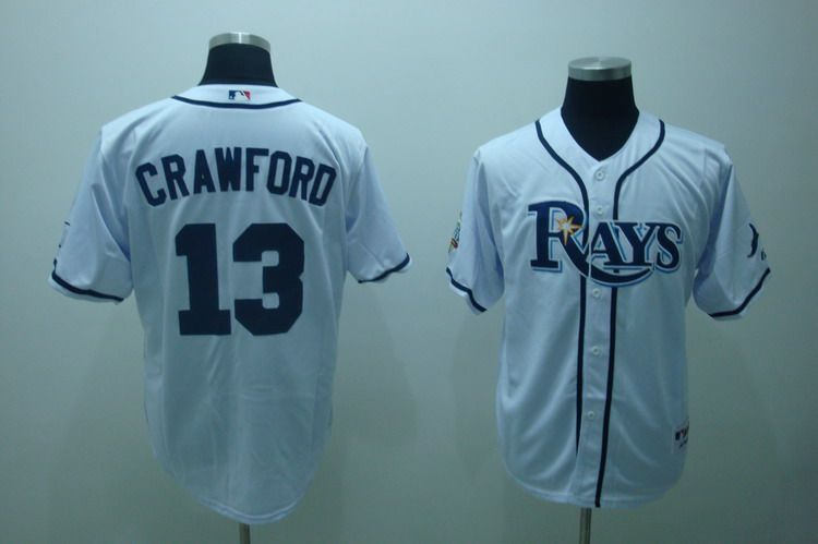 MLB Jerseys Tampa Bay Rays 13 Crawford White softball jerseys