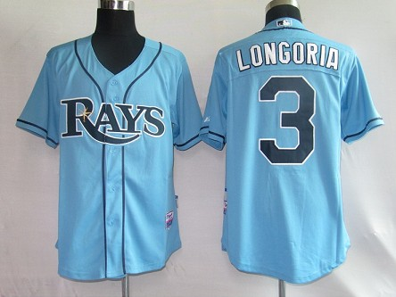MLB Jerseys Tampa Bay Rays 3 Longoria LT Blue softball jerseys