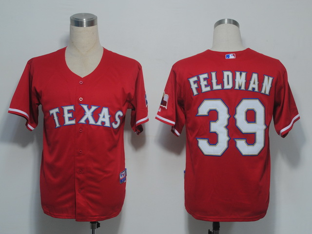 MLB Jerseys Texas Rangers 39 Feldman Red softball jerseys